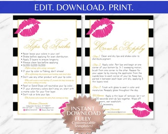 Pink Lips | Striped | LipSense Tips and Tricks | LipSense Application Instruction Cards | LipSense Business Cards | LipSense |LipSense Apply