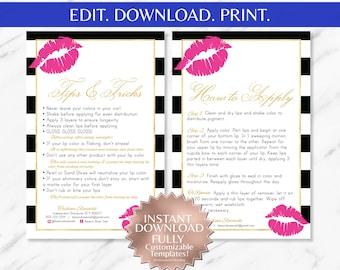 Pink Lips | Striped | LipSense Tips and Tricks | LipSense Application Instruction Cards | LipSense Business Cards | LipSense |LipSense Apply