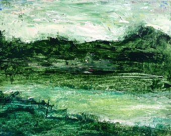 """Original acrylic abstracted landscape, """"Green Nocturne,"""" 8""""x 10"""", on cradled wood panel"""