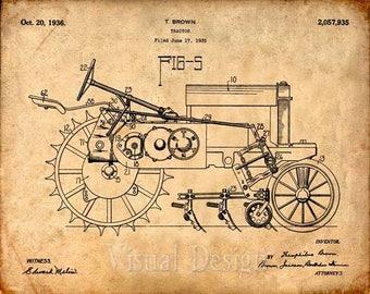 John Deere Tractor Patent Print - Patent Art Print - Farming Patent Poster - Farmer Art - tractor print - farm decor - farmhouse - equipment