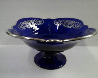 Paden City cobalt footed compote with sterling overlay