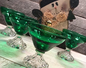1950's Set of 6 (Six)- GORGEOUS Burple Green Champagne/Tall Sherbet Glasses by ANCHOR HOCKING, Christmas, Holiday Table, elegant, tablescape