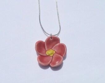 pink pottery flower necklace, handmade pottery, ceramic flower necklace, flower jewelry, pottery jewelry, pottery necklace, pink pottery
