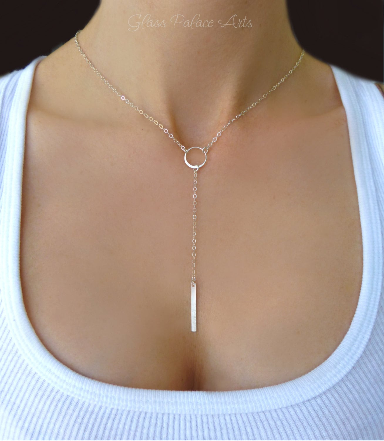 Sterling Silver Y Necklace Silver Lariat Necklace Long Bar