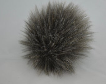 Grey Grizzly Faux Fur Pom Pom
