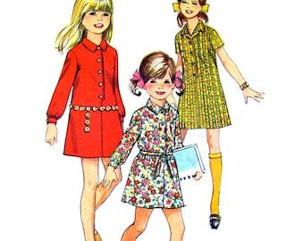 Girls Mod Dress Pattern Simplicity 7786 Button Front Shirt Dress Long Sleeve Girls Chubbie Size 12 1/2 Vintage Pattern
