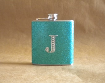 Bridesmaids Gift Teal Sparkly or ANY Color Sparkly with ANY Rhinestone Initial 6 ounce Stainless Steel Girly Gift Flask KR2D 5868
