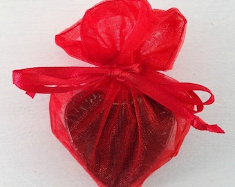 ON SALE Red Heart Shaped Organza Favor Bag, Soap Favor Bag, Organza Favor Bag, Drawstring Bag, Organza Bag, 4x3 Heart Organza Bag, Wedding