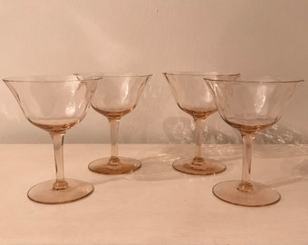 Set of 4 Vintage Pink Glasses