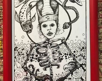 Death Tarot Card ***FRAMED original drawing by Alexis Price