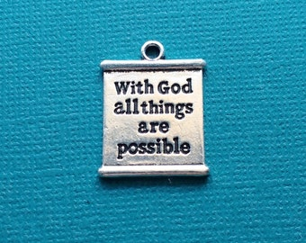 4 With God all Things are Possible Word Charms Silver Matthew 19:26 Verse Charm - CS2895