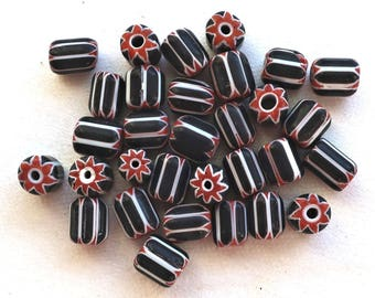 Twelve black, white & red striped chevron glass tube or barrel beads, big hole rustic beads,  approx 9x 7mm  C7401