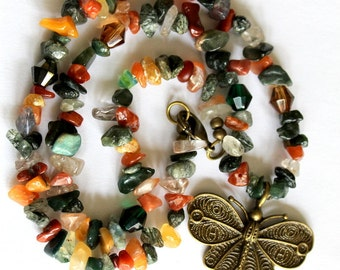 Lovely Antique Bronze Butterfly Necklace with Multi Color Agate, Carnelian Chips and Swarovski Crystals