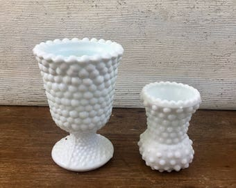 Set of 2 Vintage Milk Glass Vases / Milk Glass Vase / Hobnail Milk Glass Vases