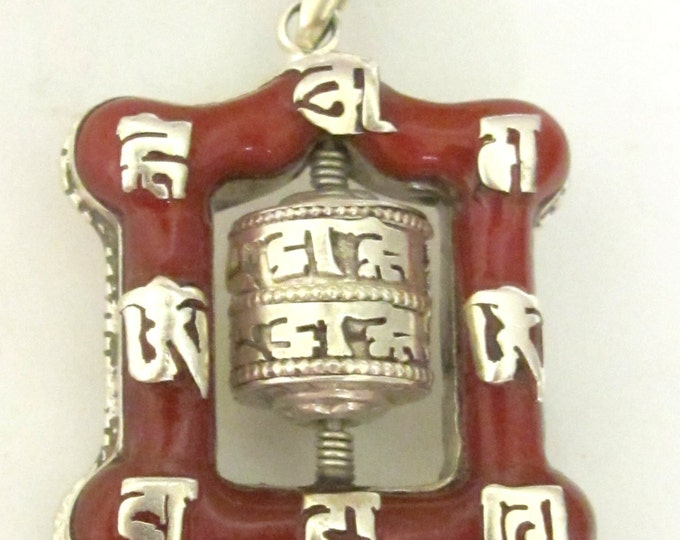 Tibetan silver spinnable buddhist prayer wheel coral inlaid pendant - PM115