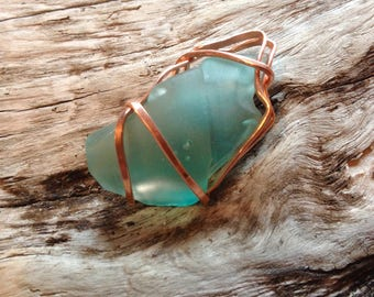 Fresh Aqua Sea Beach Glass Hammered Copper Mermaid Pendant! Proudly Crafted and Sourced on The Outer Banks, Hatteras Island, NC