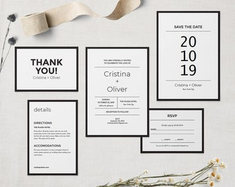Modern wedding invitation template PRINTABLE, Diy wedding invite set, Minimalist black and white wedding invitation suite. EDITABLE PDF