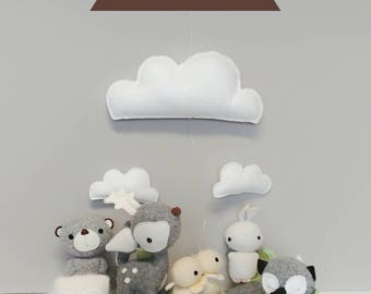 Woodland Baby Mobile - gender neutral, Animals, Forest, Gray, White, Yellow, READY TO SHIP