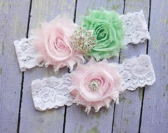 Wedding Garter Set, Pink and Mint Garters, Mint Green Garter, Garter, Green Garter, Mint Wedding