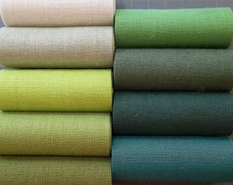 10 inch wide Premium GREEN Burlap Runner -  10 GREEN color choices