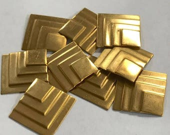 Vintage Raw Brass 3D Square Stampings -stacked pattern - 22mm pkg4 M128