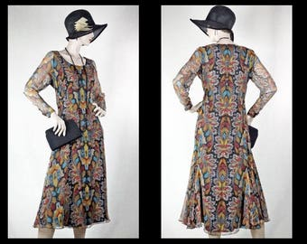 1930s Arts and Crafts Silk Chiffon Day Dress with Godets Sz 12  #1449