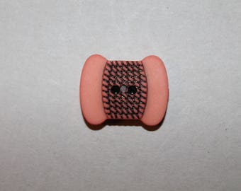 fancy, orange, black button, yarn wool, two holes