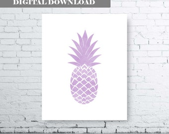 PALE PINK PINEAPPLE Wall Art-Instant Download-Set of three (2). Pineapple Printable. Lilac pineapple printable art.  Pineapple Bedroom.