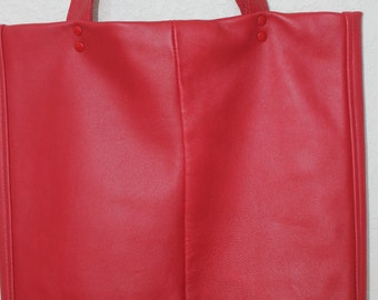Large red leather tote bag, Large leather tote bag
