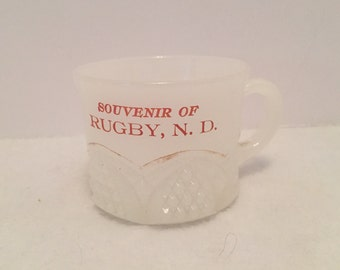 Vintage Souvenir Milk Glass Cup Rugby, N.D.