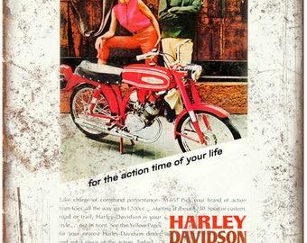 "1960s Harley Davidson Motorcycle Print Ad 10"" X 7"" Reproduction Metal Sign F31"