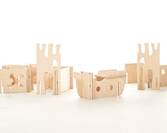 Wood Pirate Play Set // Pirate Modular Walls Build Your Own Pirate World with this Montessori Inspired Building Toy