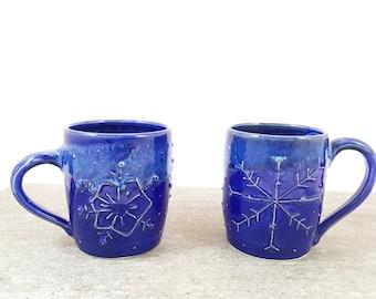 Snowflake Pottery Mug