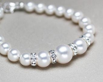 BRC 0011 Swarovski crystal pearl bracelet with rondelle simple bracelet bridal gift gift for bride gift for mom gift for her pearl bracelet