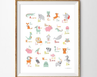 Alphabet Poster, Alphabet Print, ABC Wall Art, Alphabet Wall Art, Animal Nursery Art, Alphabet Nursery Print, Animal art, Nursery decor, ++