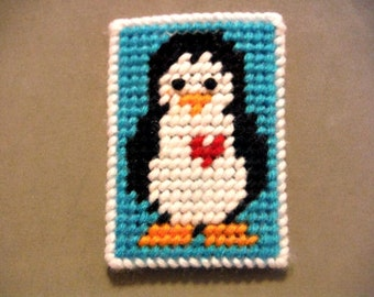 Penguin Gift Card Holder, Sea Animal, Plastic Canvas, Needlepoint Canvas, Baby Shower Gift, Baby Gift, Penguin Baby Gift, Penguin Gift