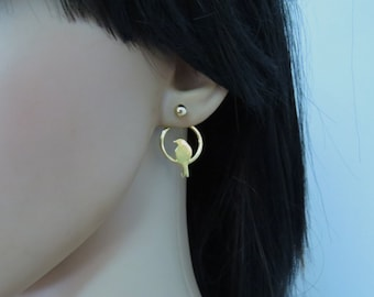Gold ear jacket, trendy jewelry, double earrings, gold bird earrings, nature earrings