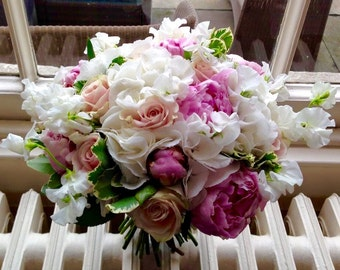 Fresh Rose, Hydrangea, Peony finished with Varigated Pitto Bride's Bouquet