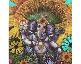Ganesh Tapestry - Ganesha Maya - Colorful Mexican Floral with Lord Ganesha Artwork on Lightweight Polyester Fabric