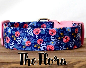 "Vintage Inspired Blue & Pink Floral Dog Collar ""The Flora"""