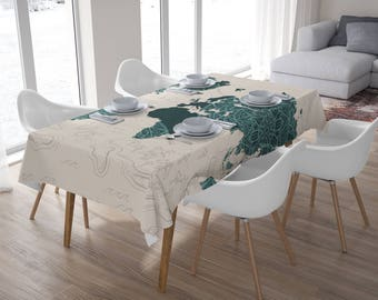 Mandala world map etsy boho world map tableclothtablecloth rectangletablecloth squarehome decorkitchen decor gumiabroncs Image collections