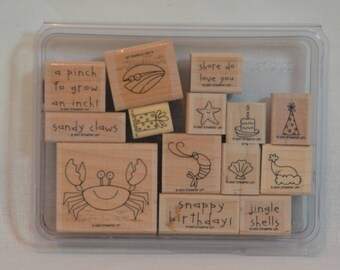CRAB & COMPANY Retired Stampin Up Wood Mount Stamp Set