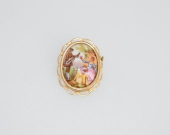 1940's Limoges France Porcelain Courting Brooch with Trombone Clasp Goldtone