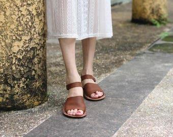 Handmade Women's Flat Sandals, Leather Sandals, Leather Shoes, Retro Flat Shoes, Summer Shoes Sandals, Women Shoes