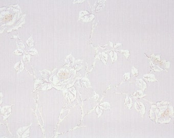1950s Vintage Wallpaper by the Yard - Floral Wallpaper with White Textured Roses on Pink