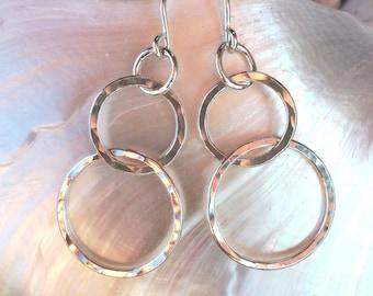 Tiered Hoops in Fine Silver - medium