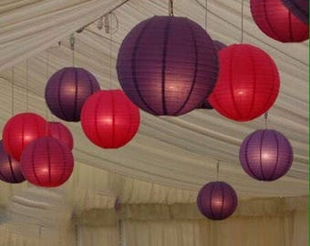 9x Red & Purple Paper Lanterns with LED Bulbs Lights Wedding Engagement Anniversary Birthday Party Hanging Lighting Venue Decoration