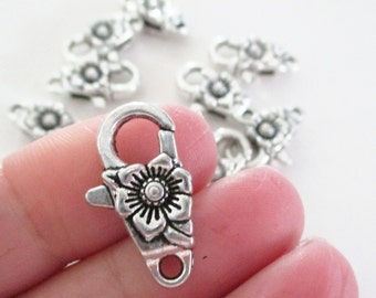 Silver Flower Lobster Clasp - Antique Silver Clasp - Large Fancy Flower Clasp - 24mm - Necklace Findings - DIY Bulk Jewelry Supplies - 8 Pcs