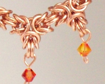 Copper Byzantine Crown Chainmaille Bracelet