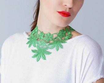 Green Necklace Venise Lace Necklace Lace Jewelry Bib Necklace Statement Necklace Body Jewelry/ FLORA